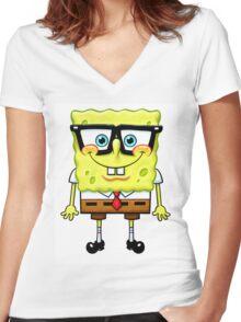 Spongebob Nerd Women's Fitted V-Neck T-Shirt