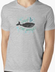 Save the whales Mens V-Neck T-Shirt