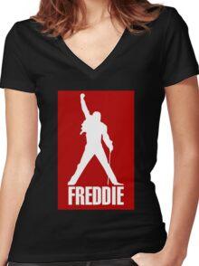 Freddie Mercury Queen's Singer Silhouette Women's Fitted V-Neck T-Shirt