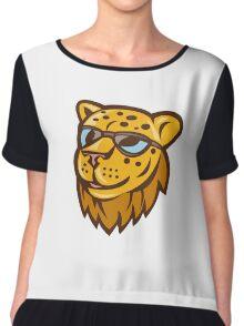 Cheetah Head Sunglasses Smiling Cartoon Chiffon Top
