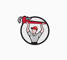 Plumber Lifting Monkey Wrench Circle Cartoon Unisex T-Shirt