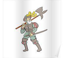 Spanish Conquistador Ax Sword Cartoon Poster