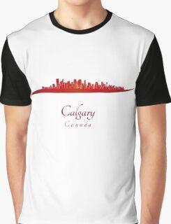 Calgary skyline in red Graphic T-Shirt