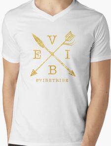 VIBE Feather Arrow Cross GOLD Mens V-Neck T-Shirt