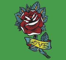 Love rose tattoo Kids Tee