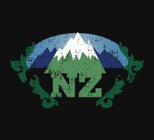 NZ New Zealand mountains distressed version Kids Clothes