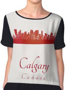 Calgary skyline in red Chiffon Top