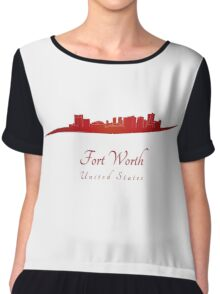 Fort Worth skyline in red Chiffon Top