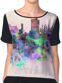 Vienna skyline in watercolor background Chiffon Top
