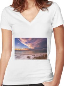 Sunset On The Beach  Women's Fitted V-Neck T-Shirt