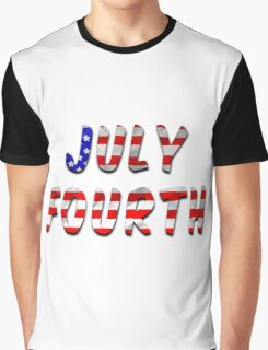 July Fourth Words With USA Flag Texture Graphic T-Shirt