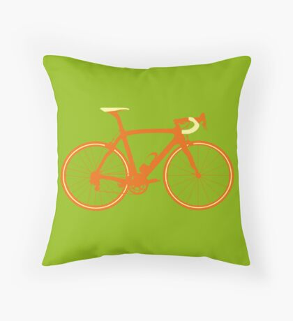 Bike Pop Art (Brown & Yellow) Throw Pillow