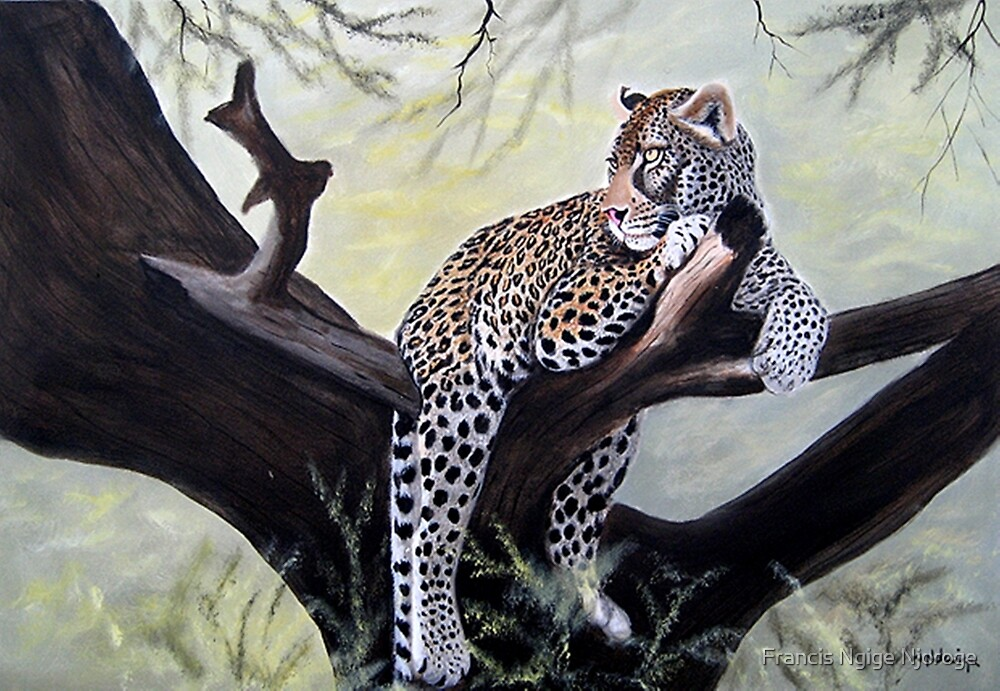 Leopard relaxed on a tree designs by Mutan