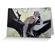 Leopard relaxed on a tree designs Greeting Card