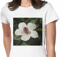 Bright White Hibiscus With a Ruby Red Heart Womens Fitted T-Shirt