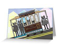 San Francisco Trolley Cats Greeting Card