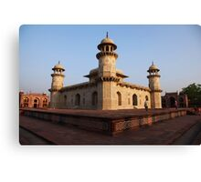Agra, The Itmad-ud-Daulah Mausoleum at sunset Canvas Print