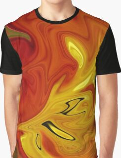 Abstract: Orange And Red Graphic T-Shirt