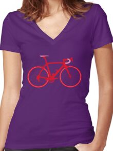 Bike Pop Art (Red & Pink) Women's Fitted V-Neck T-Shirt