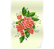 Bouquet with red flowers Poster