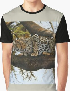 oil painting of a Leopard ready to pounce designs Graphic T-Shirt
