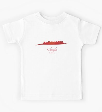 Chengdu skyline in red Kids Tee
