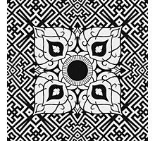 Sayagata 4 Warped Tiled Plus Thai Ornament 1 Inverted Photographic Print