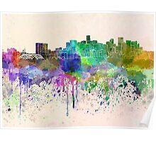 Denver skyline in watercolor background Poster