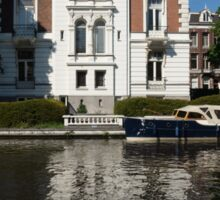 Amsterdam Canal Mansions - Bright White Symmetry  Sticker
