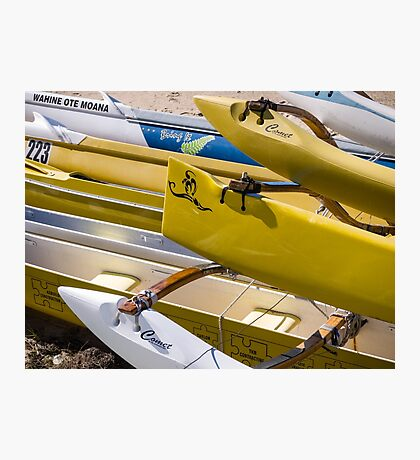 Hawaiian Canoes. Resting on the beach Photographic Print