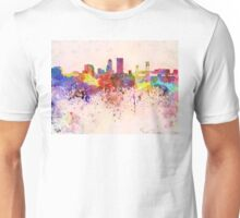 Jacksonville skyline in watercolor background Unisex T-Shirt