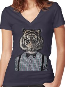 HIPSTER TIGER  Plaid Shirt Vintage Dictionary Art Beatnik Art Women's Fitted V-Neck T-Shirt