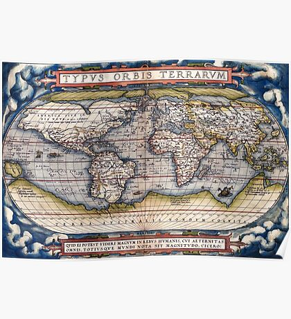 1564 World Map by Ortelius Poster