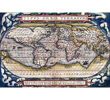 1564 World Map by Ortelius Photographic Print