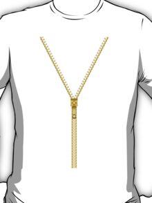 Gold zipper - White inside T-Shirt