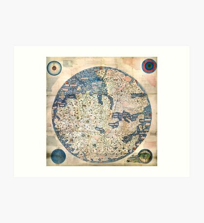 1458 World Map by Fra Mauro Art Print