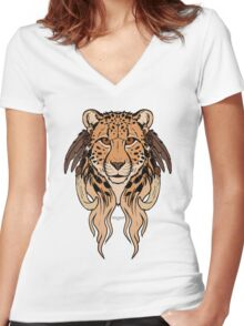 Tribal Cheetah Women's Fitted V-Neck T-Shirt