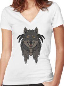 Tribal Werewolf Women's Fitted V-Neck T-Shirt