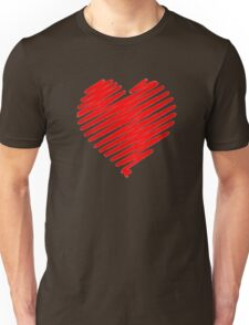 a red heart digital sketch, love is in the air. Unisex T-Shirt