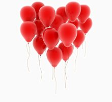 3D group of red balloon formimg a big heart shape Unisex T-Shirt