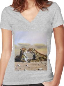 Oil painting of Cheetahs romance  Women's Fitted V-Neck T-Shirt
