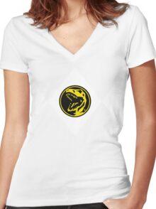 Mighty Morphin Power Rangers Red Ranger 2 Women's Fitted V-Neck T-Shirt