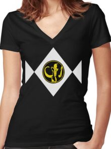 Mighty Morphin Power Rangers Black Ranger 2 Women's Fitted V-Neck T-Shirt