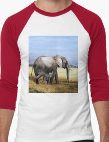 Mothers Love  Elephant and her Calf oil painting gifts Men's Baseball ¾ T-Shirt