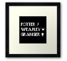 Potter, Weasley, Granger Framed Print