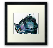 cat and the moon Framed Print
