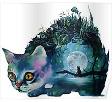 cat and the moon Poster