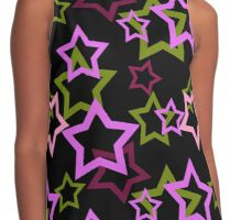 Seamless black pattern with stars background Contrast Tank