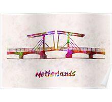 Netherlands Landmark Bridge in watercolor Poster