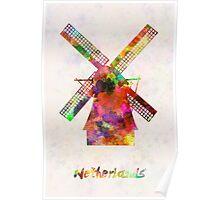 Netherlands Landmark Mill in watercolor Poster